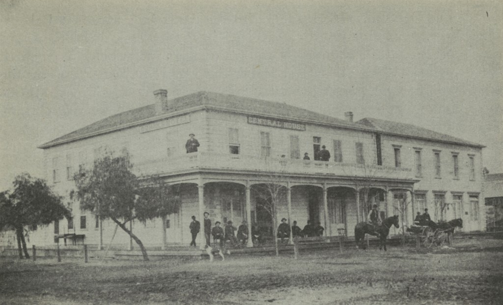 Sumner Hotel-Central House on southwest corner of Sumner and Baker Streets in the early 1880's.