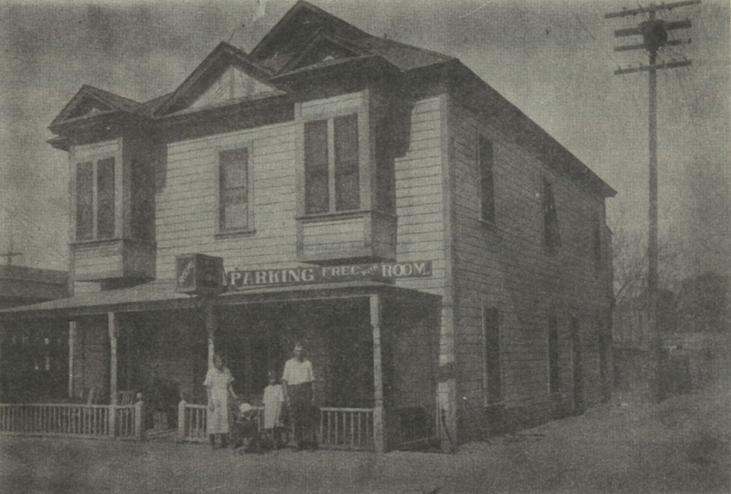 Swedish rooming house half a block north of 19th Street on west side of Baker Street, run by Mr. and Mrs. Frank Fornas shown in picture with their children.