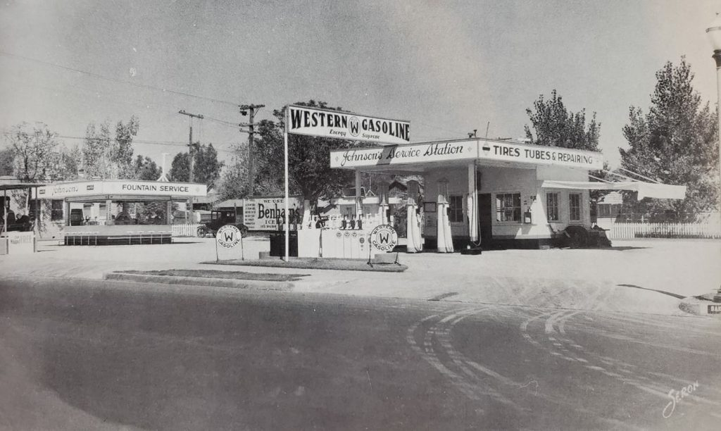 Johnson's Service Station at 1105 Baker St. in 1927