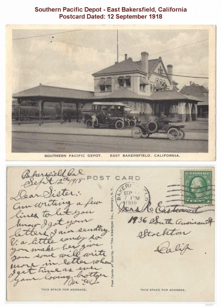 Southern Pacific Depot, postcard from 12 September 1918