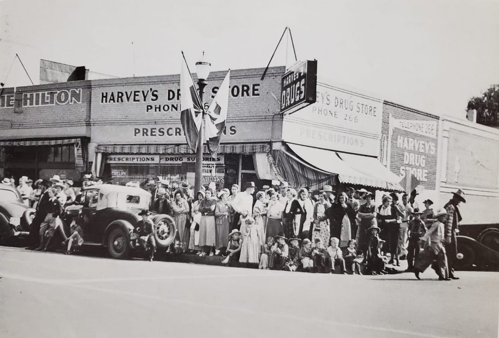 The northeast corner of Baker and Jackson during the 1938 Frontier Days celebration.