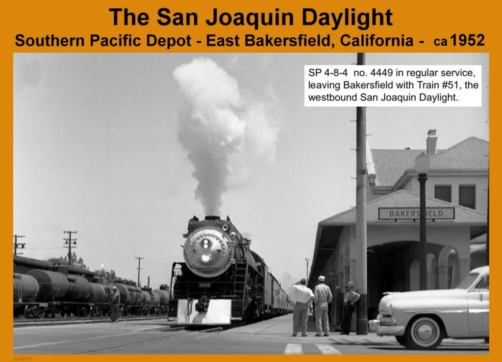 Circa 1952, for about three decades the San Joaquin Daylight passenger train regularly rolled through Bakersfield. It connected Oakland and Los Angeles offering Pullman service. As demand fell off, in the 50s and 60s and customers found alternative modes of transport we lost that level of service. Amtrak started offering intercity passenger service in 1971.
