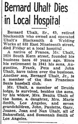 Bernard Uhalt Sr., 69, retired blacksmith who owned and operated Uhalt's Blacksmith & Welding Works at 532 East Nineteenth Street, died Friday, April 5, 1946.