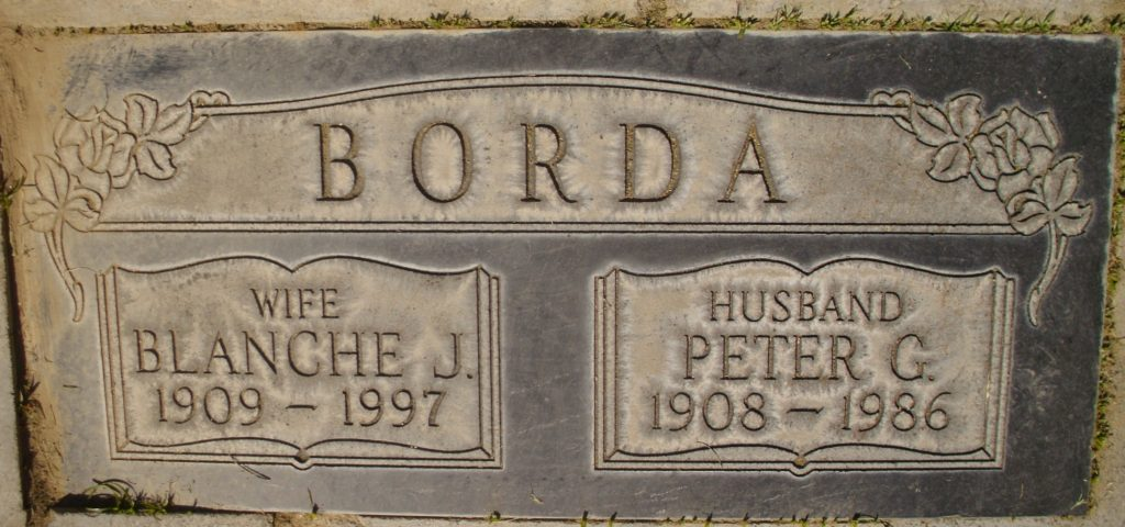 BORDA Blanche J. 1909-1997 Peter G. 1908-1986