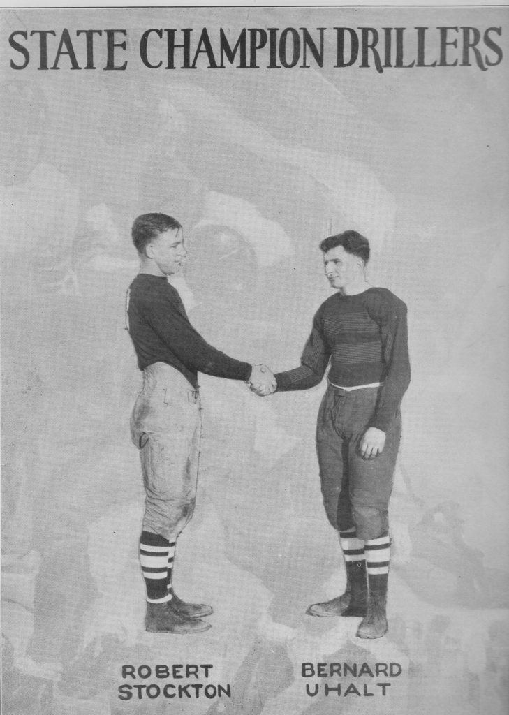 From the 1928 Oracle-BHS yearbook, State Champion Drillers 1st photo-Team captains, Robert Stockton and Bernard Uhalt.