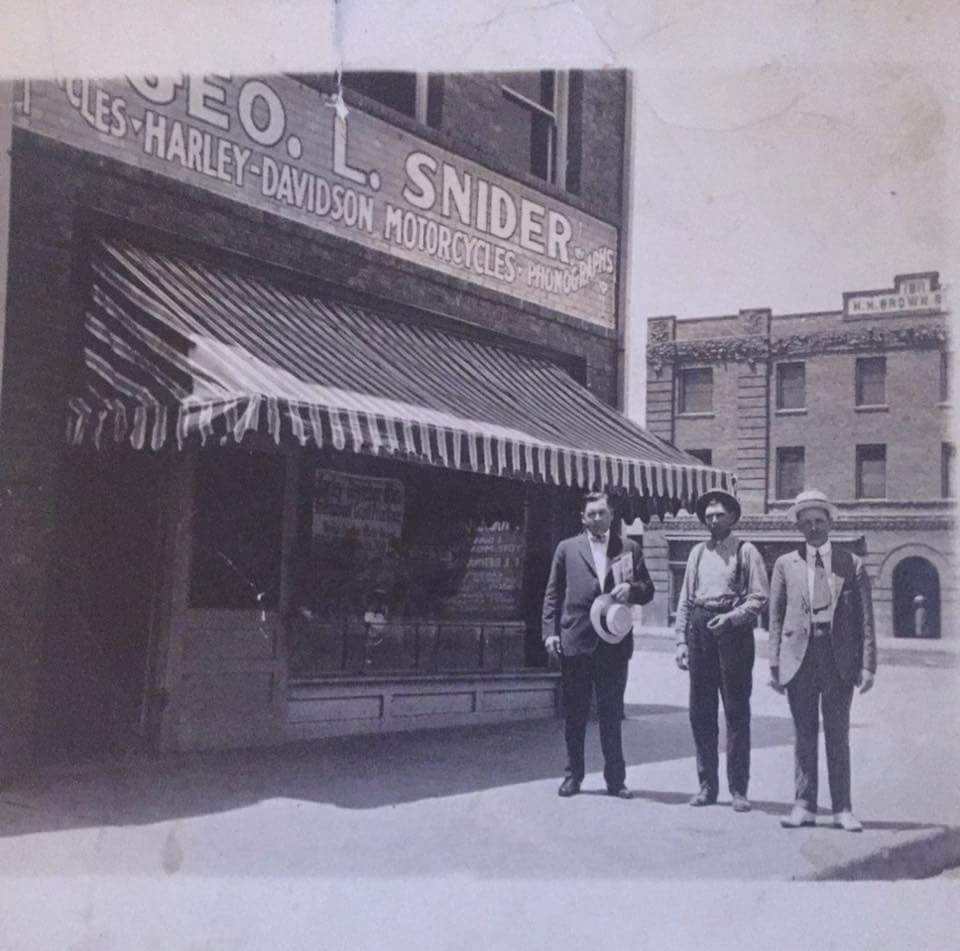 George Snider started Snider's bike and phonograph store in 1905, the first Harley Davidson dealer in Bakersfield. They started mounting motors on bicycles and racing them all over Kern County.